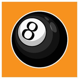 Черный бильярдный шар восемь изолированных иллюстрация