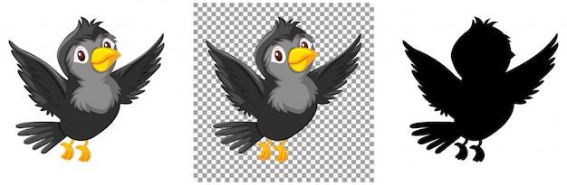 Black bird cartoon character