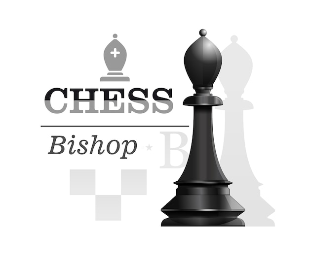 Black bishop the background of the chessboard silhouette. chess piece elephant or officer. chess concept design.  illustration