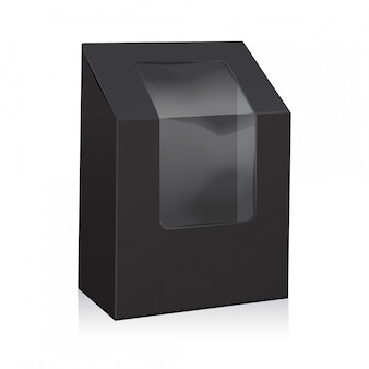 Black blank cardboard triangle box. take away boxes packaging mock up with plastic window.