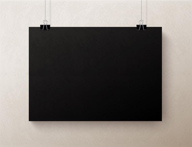 Black blank horizontal sheet of paper