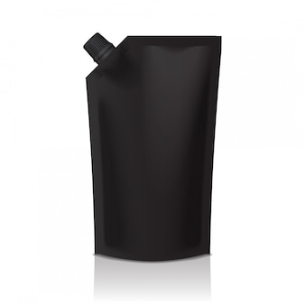 Black blank plastic doypack stand up pouch with spout. flexible packaging  for food or drink