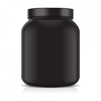Black blank plastic jar isolated on white background. sport nutrition, whey protein or gainer