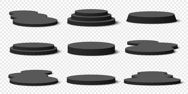 Черные пустые круглые подиумы на прозрачном. пьедесталы.