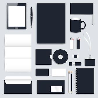 Black blank set of vector corporate identity template