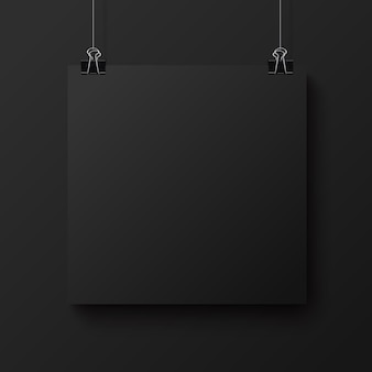 Black blank square sheet of paper