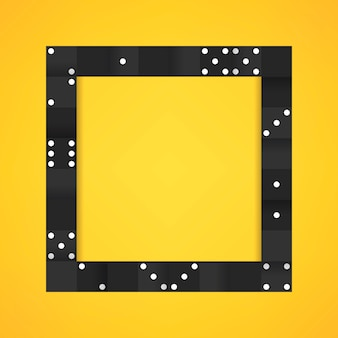 Black blocks frame on blank yellow background vector