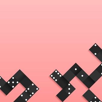 空白のピンクの背景ベクトルに黒ブロックのフレーム