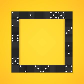 空白の黄色の背景ベクトル上に黒ブロックのフレーム