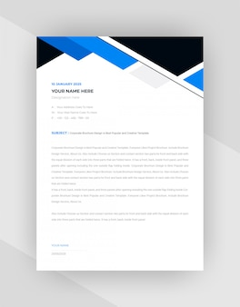 Black & blue  abstract letterhead template design.