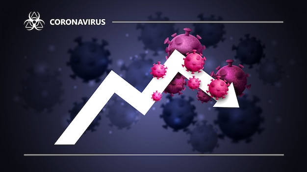 Black and blue banner with a large white arrow, a graph surrounded by coronavirus molecules