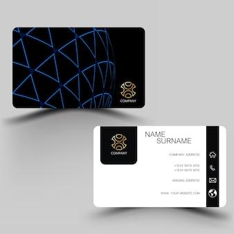 Black and blue business card design.
