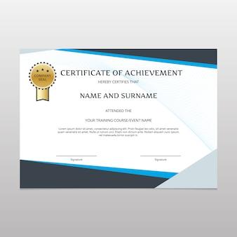 Certificato nero e blu di realizzazione
