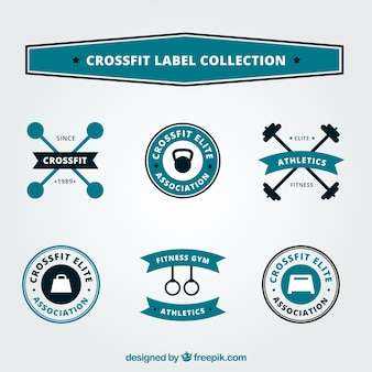 Black and blue crossfit label collection