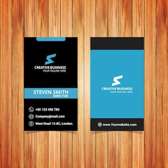 Black and blue letter s business card