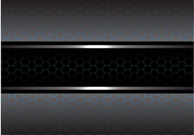 黒い青い線の六角形メッシュの灰色の金属の背景。