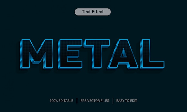 Black blue metal chrome 3d text style effect