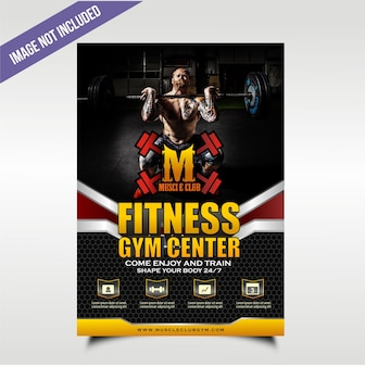 Black bold and tought gym flyer with four service point