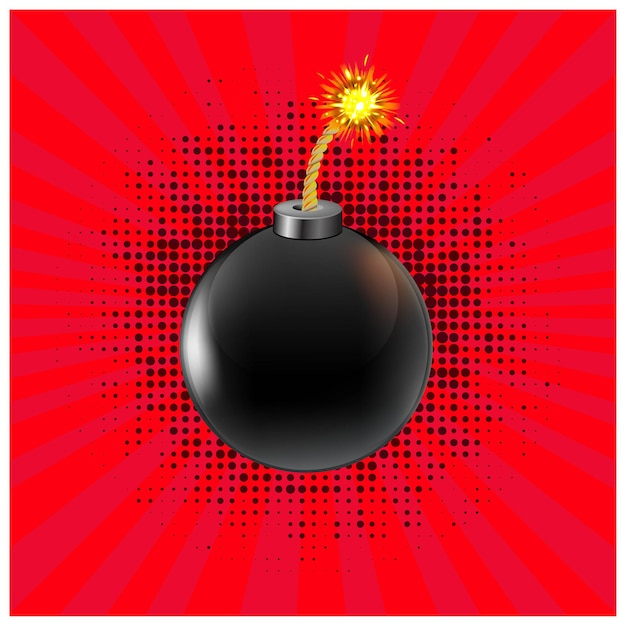 Black bomb with red background, vector illustration