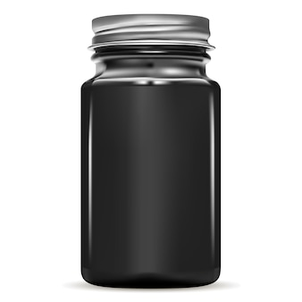 Black bottle. glass medical jar. medicine vial