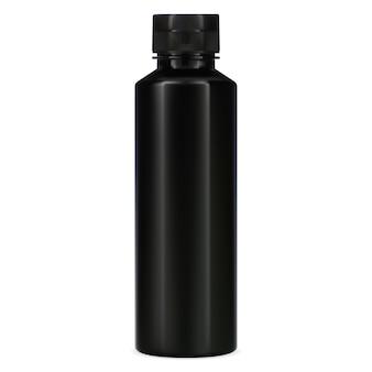 黒のボトル。シャンプー用プラスチックパッケージ。バス用品のエレガントな化粧品容器。