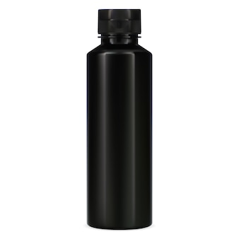 Black bottle. plastic package for shampoo. elegant cosmetic container for bath product.