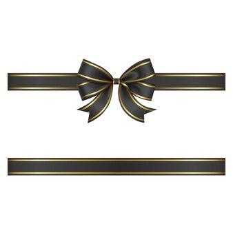 ブラックフライデーの背景にゴールドの縁取りが施された黒いリボンとリボン