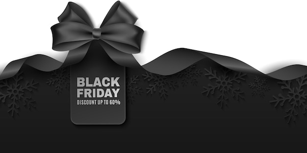 블랙 프라이데이 판매를 위한 태그가 있는 검은색 활과 리본. 비즈니스 프로모션을 광고하는 벡터 레이블입니다. 상업 할인 이벤트. 어두운 배경에 종이 눈송이. eps 10.