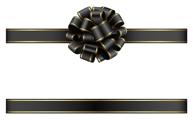 Black bow and ribbon with gold edging