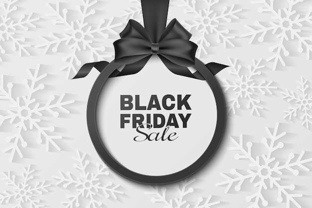 Black bow and ribbon with label for black friday sale. vector template to advertise your business promotions. commercial discount event. paper snowflakes. eps 10.