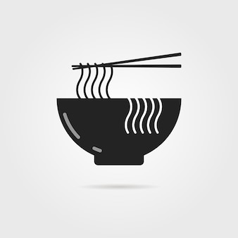 Black bowl icon with chinese noodles and shadow. concept of prepare, culinary, eastern diet, cookery, cook. isolated on gray background. flat style trend modern logotype design vector illustration