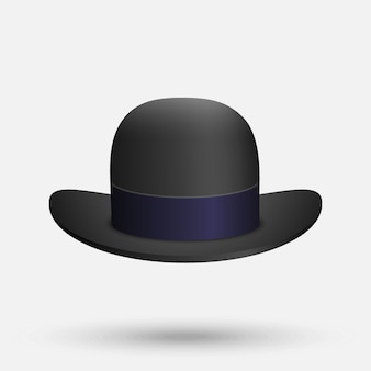 Black bowler hat on a white background