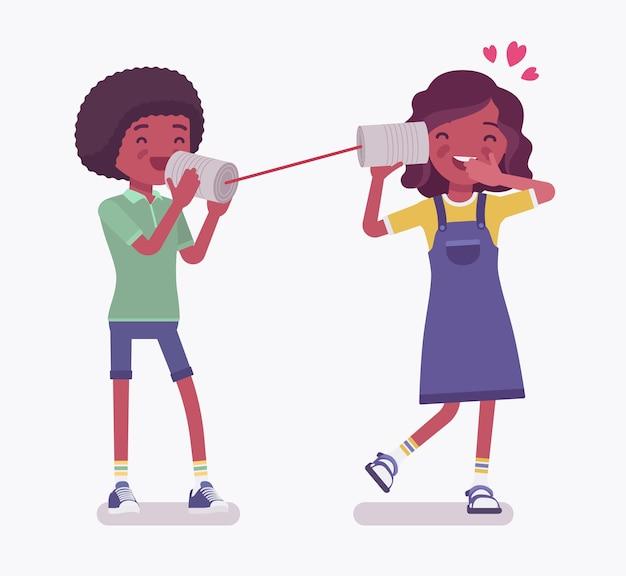 흑인 소년, 깡통 전화로 말하는 소녀