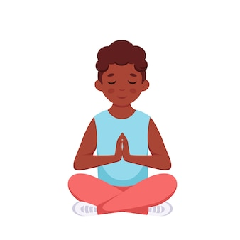Black boy meditating in lotus pose gymnastic yoga and meditation for children