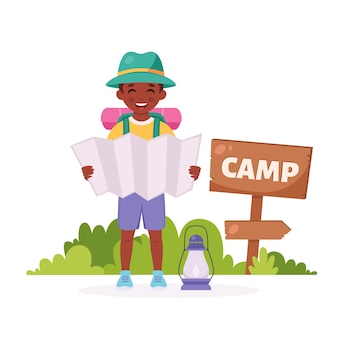 Black boy scout with map backpack camping summer kids camp