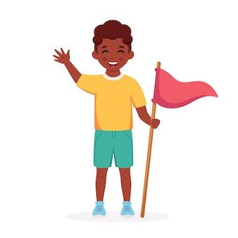 旗を掲げた黒人少年キャンプサマーキッズキャンプ