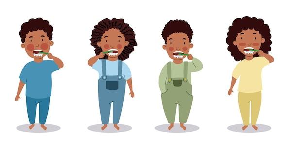 Черные мальчики и девочки чистят зубы. дети соблюдают гигиену. ребенок с зубной щеткой. векторная иллюстрация в плоском стиле