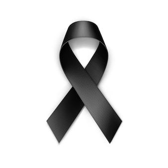 Black breast cancer ribbon isolated on white