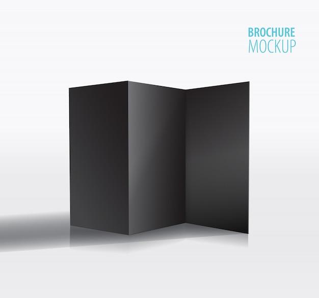 Black brochure design isolated on grey.