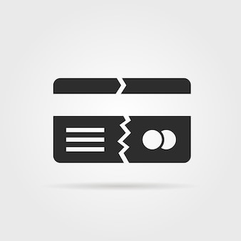 Black broken credit card with shadow. concept of fracture, fissure, fraud, fake, tax, foreclosure, canceling, break. flat style trend modern logo design vector illustration on gray background