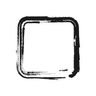 正方形の形の黒いブラシストローク。ベクトルイラスト。