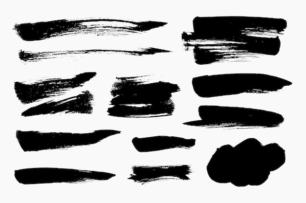 Black brush stroke set