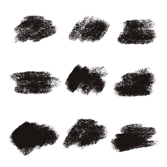 Black brush stroke textures collection
