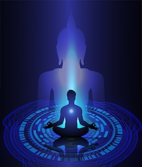 Black buddha silhouette against dark blue background. yoga