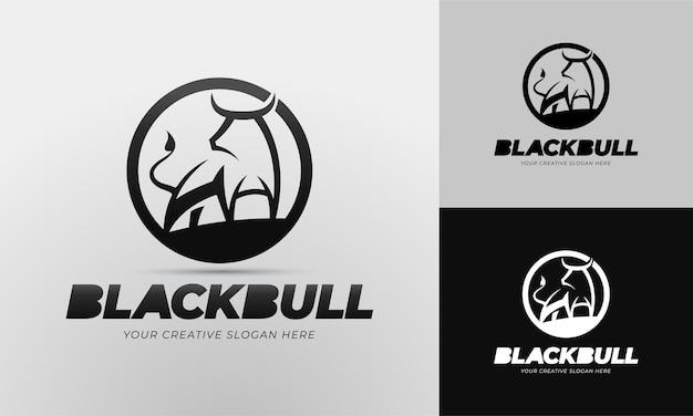 Black bull logo template in editable vector
