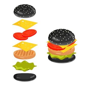 Черный бургер. ингредиенты для бургеров. вектор