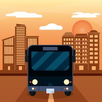 Black bus city sunset
