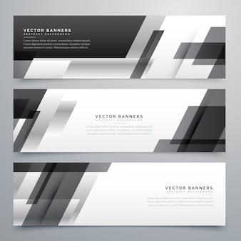 Дизайн черных бизнес-баннеров в геометрическом стиле