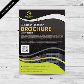Black business brochure with green wavy details