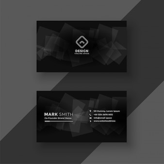 Black business card design with abstract shapes